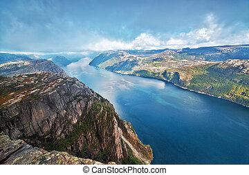 Lysefjord view from Preikestolen cliff in Norway.