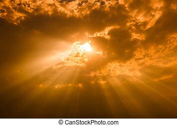 lysende, igennem, baggrund, skyer, lys, mørke, stråler