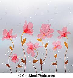 lyserød, abstrakt, blomster, farvedias