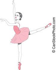 lyserød, ballerina, klæde, tutu