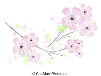 lyserød, blomstrede, blomst, konstruktion, -