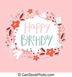lyserød, blomstrede, fødselsdag, lykønskning, card
