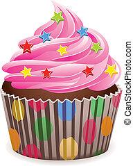 lyserød, cupcake