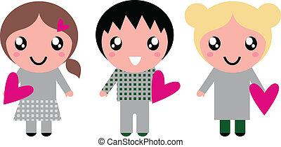 lyserød, cute, børn, isoleret, hjerter, hvid