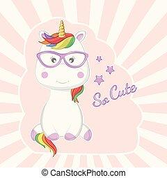 lyserød, cute, sunglasses, magiske, isoleret, baggrund., enhjørning, cartoon