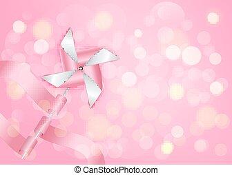 lyserød, eps10., baggrund., bokeh, vektor, pinwheel
