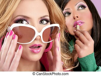 lyserød, firmanavnet, mode, barbie, piger, makeup, dukke, lipstip