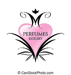 lyserød, hjerte, parfumer, vektor, logo
