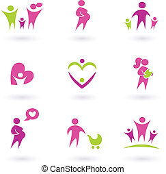lyserød, iconerne, -, isoleret, maternity, sundhed,...