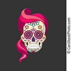 lyserød, lejlighed, firmanavnet, skære, kranium, calavera, afdødte, sukker, avis, vektor, illustration, kvindelig, hair., dag