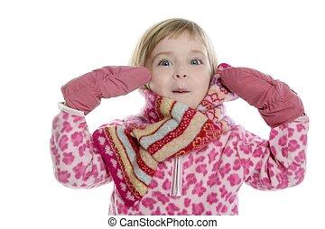 lyserød, liden, handsker, lys, pige, halstørklæde
