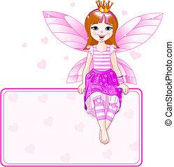 lyserød, liden, sted, fairy, card