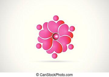 lyserød, logo, blomst, teamwork