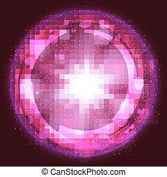 lyserød, lys brast, eksplosion, baggrund, hos, stråler, og, transparent, lines., vektor
