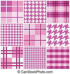 lyserød, mønster, seamless, samling