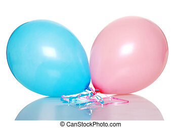 lyserød, og blå, balloon