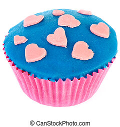 lyserød, og blå, cupcake