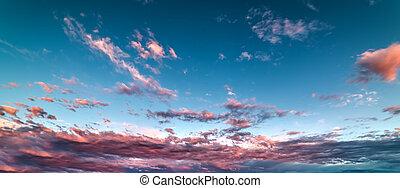 lyserød, og blå, solnedgang