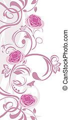 lyserød, ornamental, grænse, roser