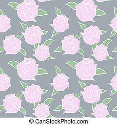 lyserød, pastel, colours., roser, ornamentere, seamless, patern., vektor, blomst, blomster