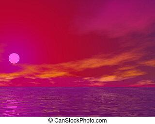 lyserød, solopgang