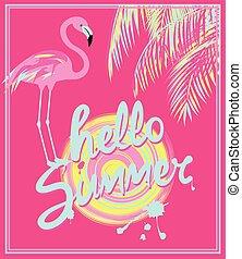 lyserød, sommer, firmanavnet, deco, kunst, flamingo., farve, banner, blade, hallo, hånd, håndflade, sol, mint, affattelseen, tekstning