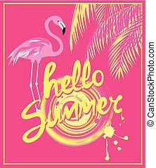 lyserød, sommer, firmanavnet, deco, kunst, flamingo., farve, blade, hallo, gul, hånd, håndflade, sol, banner, affattelseen, tekstning