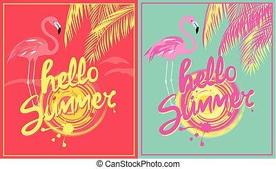 lyserød, sommer, firmanavnet, deco, kunst, flamingo., farve, rose, blade, gul, hede, håndflade, variation, sol, plakater, mint, hallo, tekstning