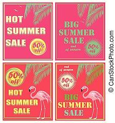 lyserød, sommer, firmanavnet, deco, kunst, flamingo., tekstning, farve, stor, neon, omsætning, blade, hede, håndflade, flyers, mint