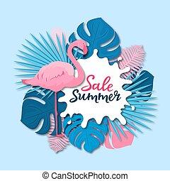lyserød, sommer, firmanavnet, flamingo, sale., blade, tropisk, skære avis, banner