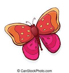 lyserød, sommerfugl, hvid, isoleret