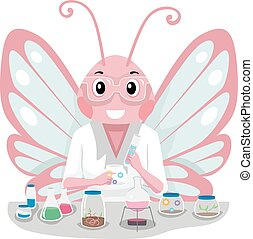 lyserød, sommerfugl, videnskabsmand, kemisk, experiment