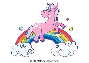 lyserød, stram, regnbue, hånd, enhjørning