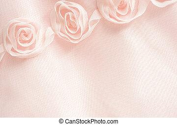 lyserød, tekstilet, baggrund, roser