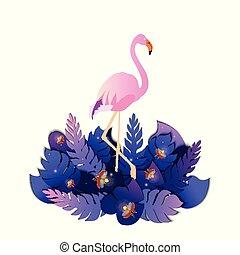 lyserød, tropisk, blade, flamingo