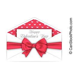 lyserød, valentines, konvolut, bøje sig, card, dag, bånd, fest