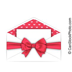 lyserød, valentines, konvolut, bøje sig, card, rense, dag, bånd