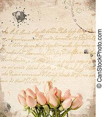lyserøde roser, liden, bouquet, baggrund