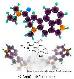 lysergic, οξύ , diethylamide, μόριο , δομή