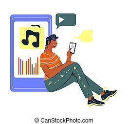 lyssnande, direkt, application., man, begrepp, mobil, radio...