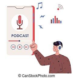 lyssnande, smartphone, podcast, man, användande