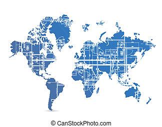 lystryk, verden, konstruktion, illustration, kort
