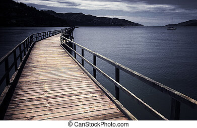 Lyttelton Christchurch - New Zealand - Empty wooden pier in ...