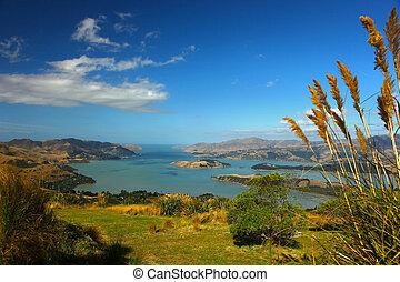 Lyttelton Harbour New Zealand - A view over Lyttelton ...