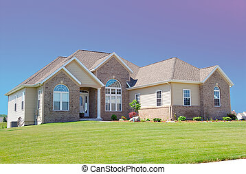 lyx, amerikan, hus, bostads
