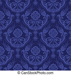 lyxvara, blå, blommig, damast, tapet