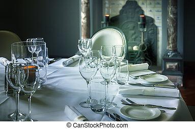 lyxvara, bord, glas