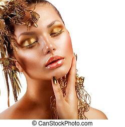 lyxvara, flicka, mode, makeup., stående, gyllene