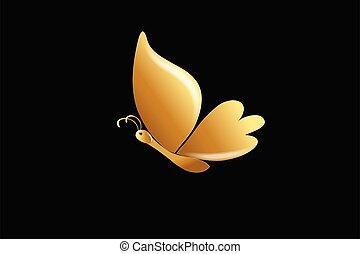 lyxvara, guld, vektor, fjäril, logo