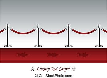 lyxvara, röd matta, med, barriär, rep